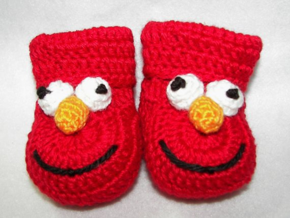 17129e6c031b4 US $45.5 |Red Baby Booties, Elmo Sesame Street NB to 6 Months or 6 to 12  Months 2015 Fashion HandmadeCrochet baby first walk shoes-in First Walkers  ...
