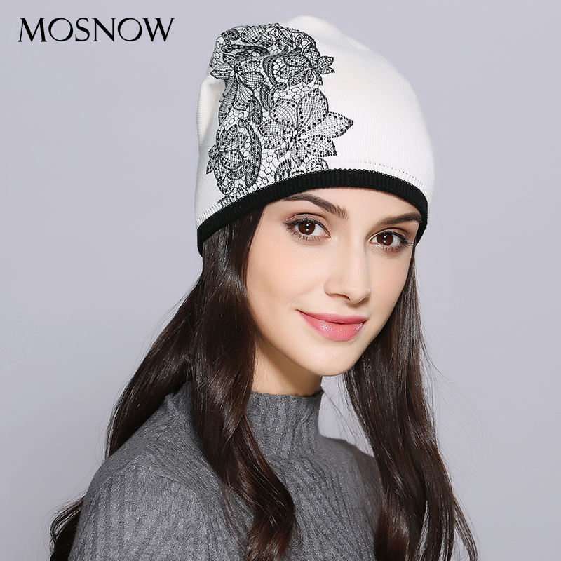MOSNOW Women Hat Female Autumn Winter Wool Elegant Flower Decoration New 2018 Knitted Warm Women's Hats   Skullies     Beanies   #MZ721