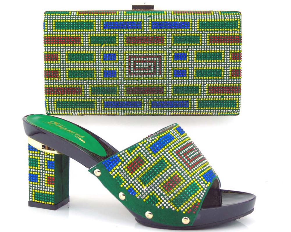 ФОТО Ladies Shoes And Bags To Match With Rhinestones High Quality African Heel Italian Shoes And Matching Bag Set For Party TH16-34