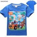 Phineas e ferb 3-9ages Crianças Crianças Meninos T Shirt do Verão nova Moda Infantil Meninos Tops Tess Camisas para a Roupa Do Bebê SAILEROAD
