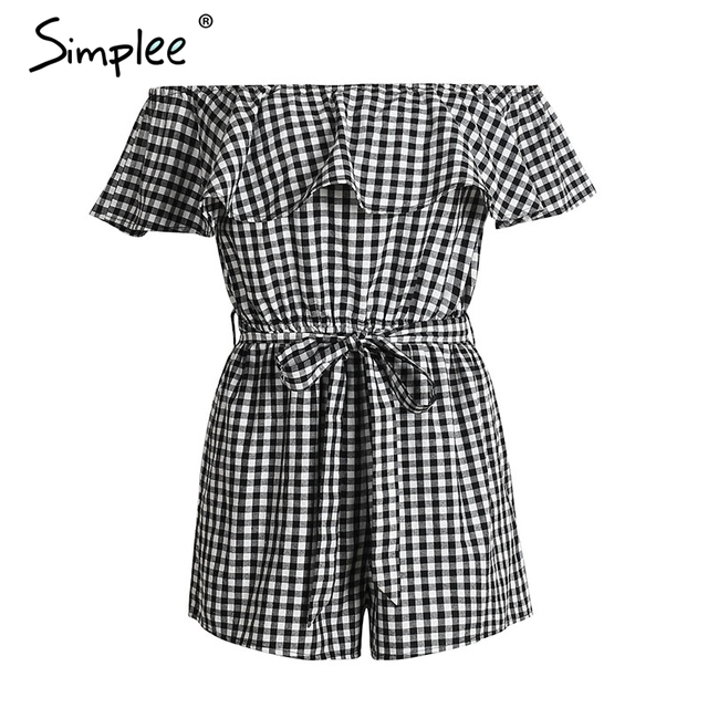Simplee Off shoulder coveralls women jumpsuit romper bodysuit 2017 summer beachwear Ruffles plaid overalls playsuit leotard