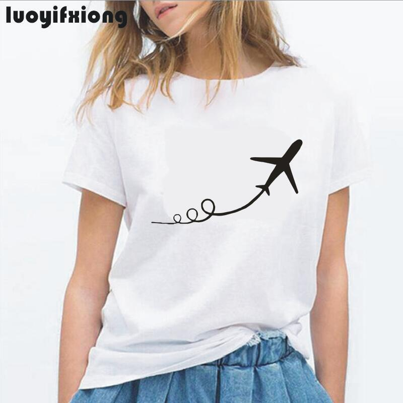 Luoyifxiong Airplane Taking Off Print Women Tshirt Short Sleeve Casual Funny Tee Shirt Femme Hipster Tumblr T Shirt Women Tops