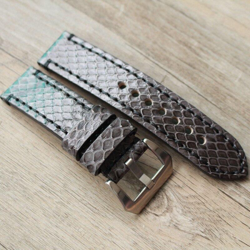 Handmade Python Skin Watchband 20MM 22MM 24MM 26MM Gray Black Retro Strap For Panerai Military Pilot Wacth Strap Tudor IWC Belt