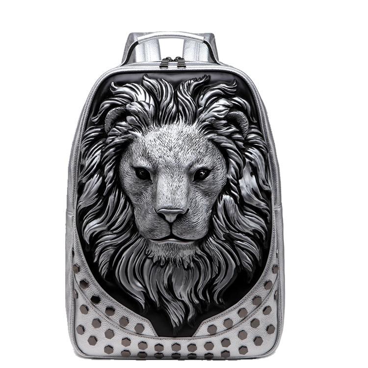 3d em relevo cabeça de leão studded