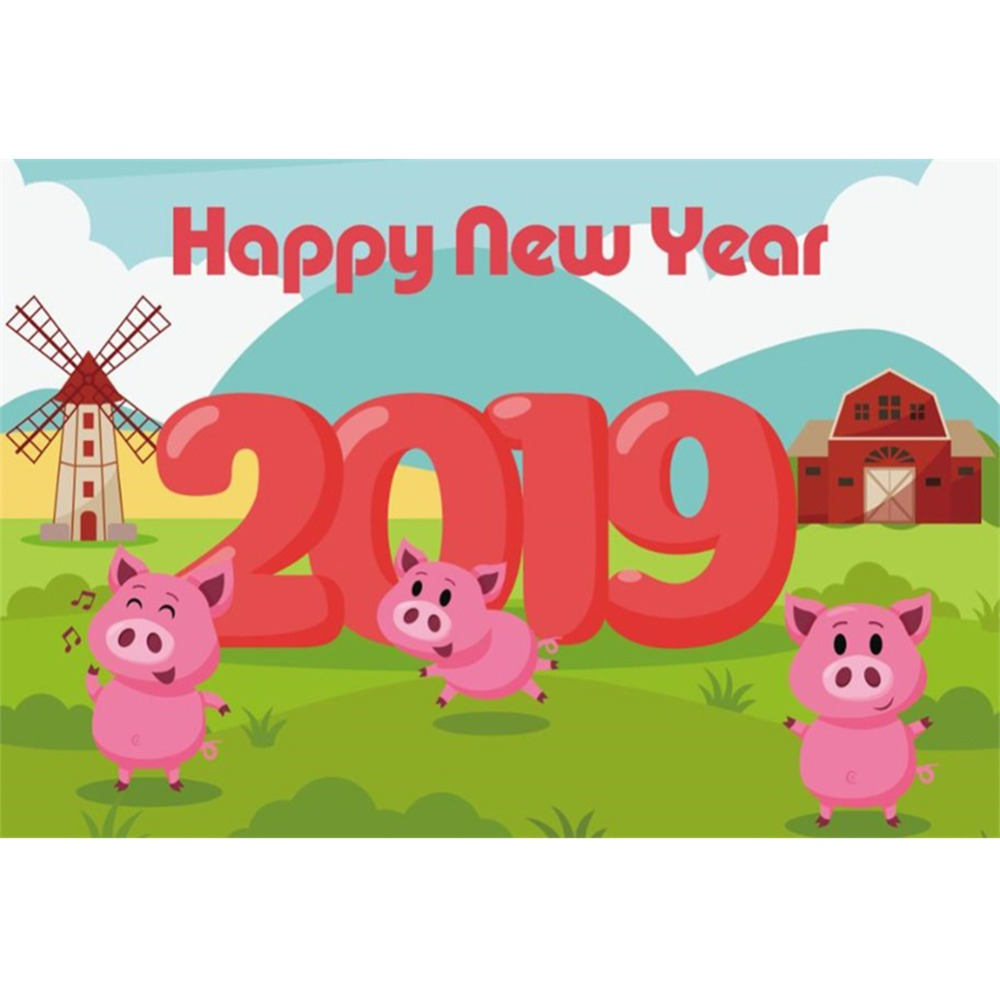 Laeacco baby cartoon happy new year 2019 pig farm green grass child pattern photo backgrounds backdrops photocall photo studio