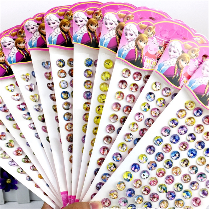 84pcs/lot Children's Cartoon Resin Rhinestone Stickers Kindergarten Reward Gem Stickers Diy  Acrylic Eyebrow Paste