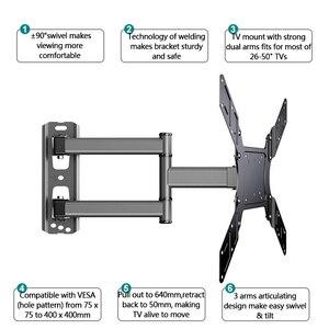 """Image 4 - Soporte de pared de TV giratorio inclinable para Monitor de pantalla plana LED de 26 50 """", VESA 400x400 con brazo de extensión articulado de movimiento completo"""
