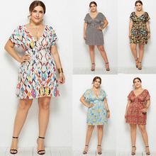 Plus Size 2019 Printed Plaid Summer Dress Sexy V Cut Short Sleeves Holiday Casual Bohemian eDressU LMT-6021