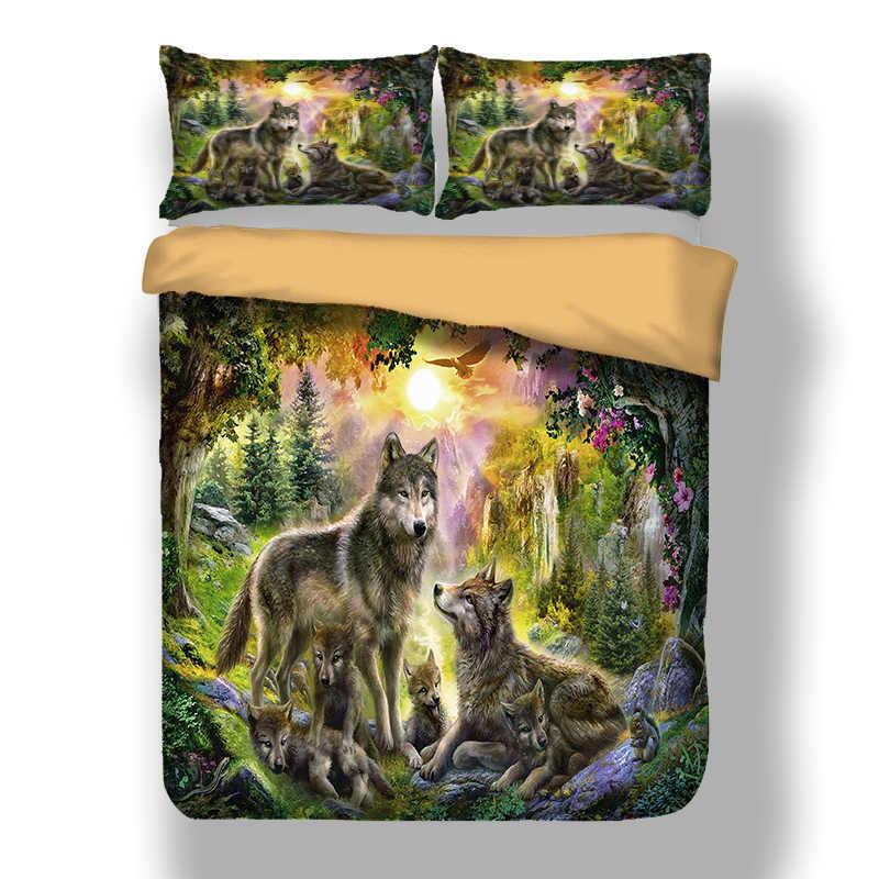 الذئب الأسرة طقم سرير التوأم كامل الملكة الملك AU سوبر الملك المملكة المتحدة حجم مزدوج الحيوان حاف الغطاء أكياسها HD طباعة المفارش