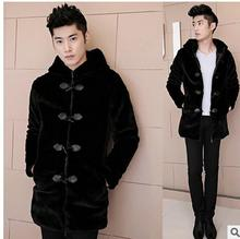 2016 Mens Casual Warm Faux Mank Fur Jacket Winter And Spring Long Black Fur Coats Plus Size Hooded Overcoats Male Outwear J1364