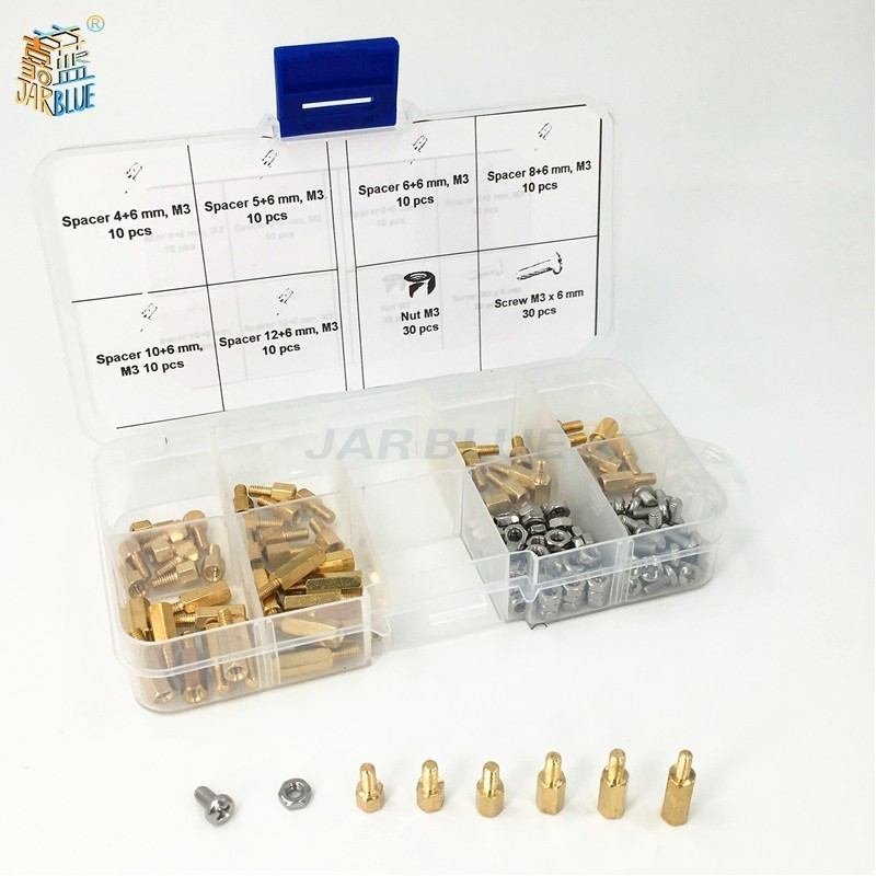 180Pcs/set <font><b>M2</b></font>*L+3mm <font><b>M2</b></font>.5/M3*L+6mm Hex Nut Spacing Screw <font><b>Brass</b></font> Threaded Pillar PCB Motherboard <font><b>Standoff</b></font> Spacer Kit image