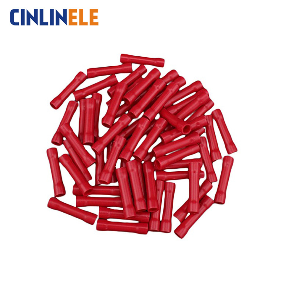20Blue Insulated Straight Wire Butt Connector Electrical Crimp Terminal 14-16AWG