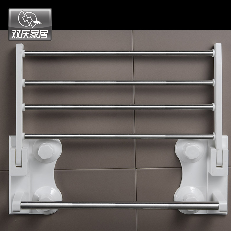 SQ1905 40cm Suction Cup Portable Bathroom Stand Dilipat Tuala Rak - Organisasi dan penyimpanan di dalam rumah - Foto 3
