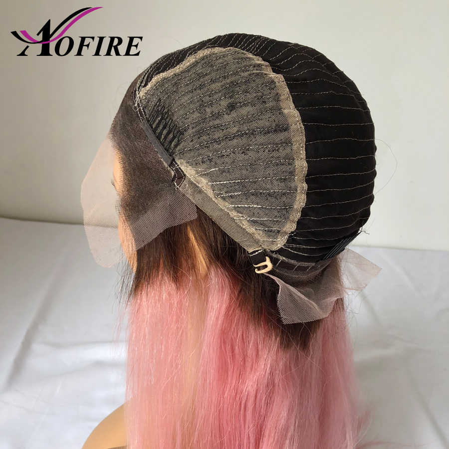 Розовый синтетические волосы на кружеве парик предварительно сорвал Бразильский прямые волосы Remy темные корни Ombre парик с ребенком во
