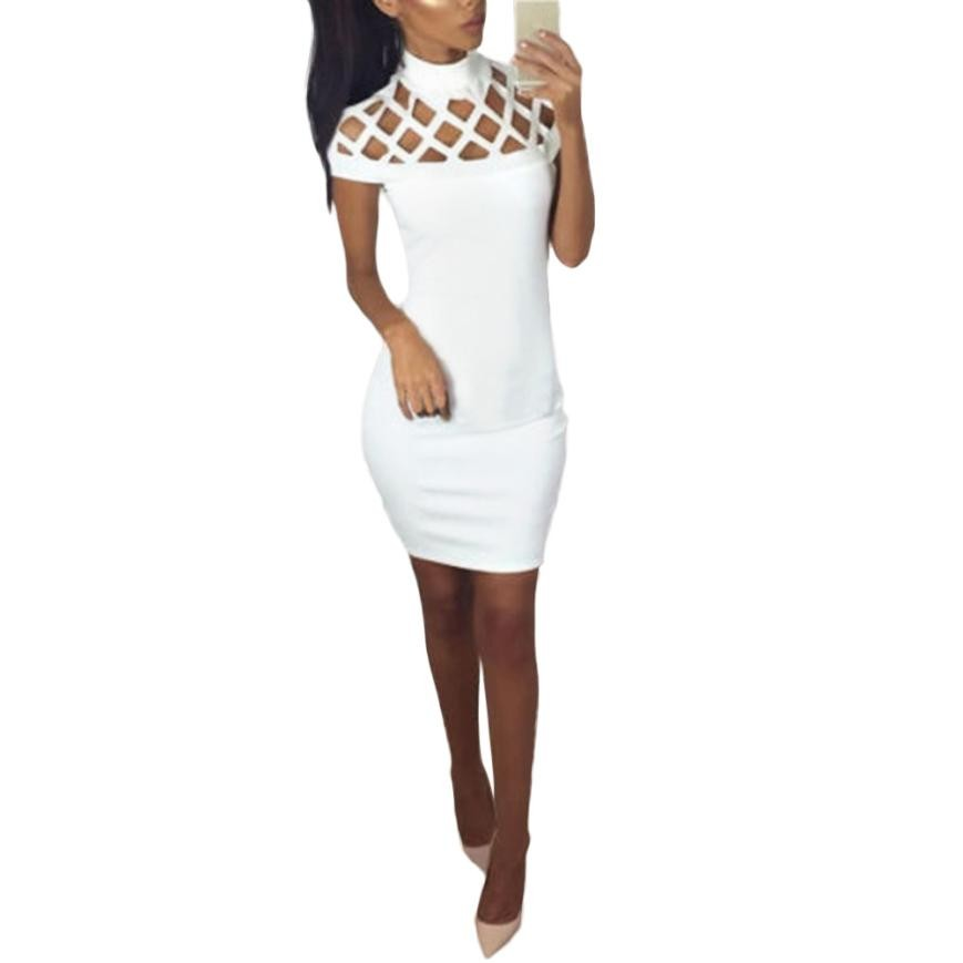 Fashion Womens Choker High Neck Bodycon Ladies Caged Sleeves Mini Dress Hollow out Sexy party drss