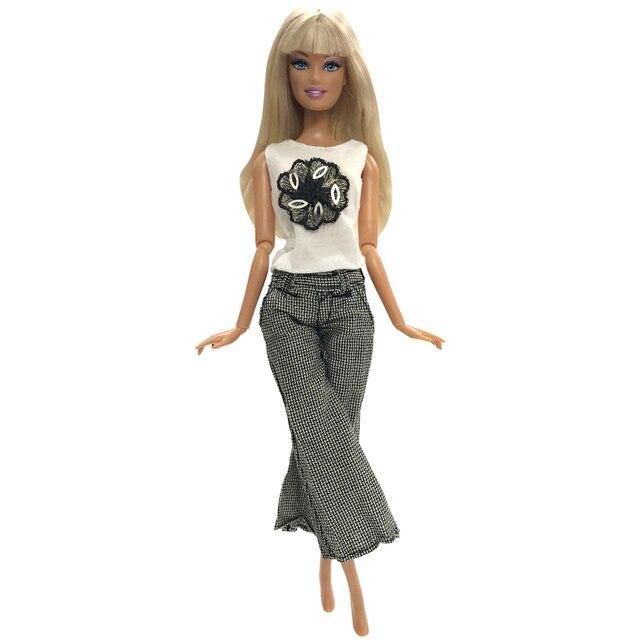 NK без рукавов платье куклы красивая мода Разделение Широкие штаны платье для куклы Барби аристократичная кукла для девочек подарок аксессуары
