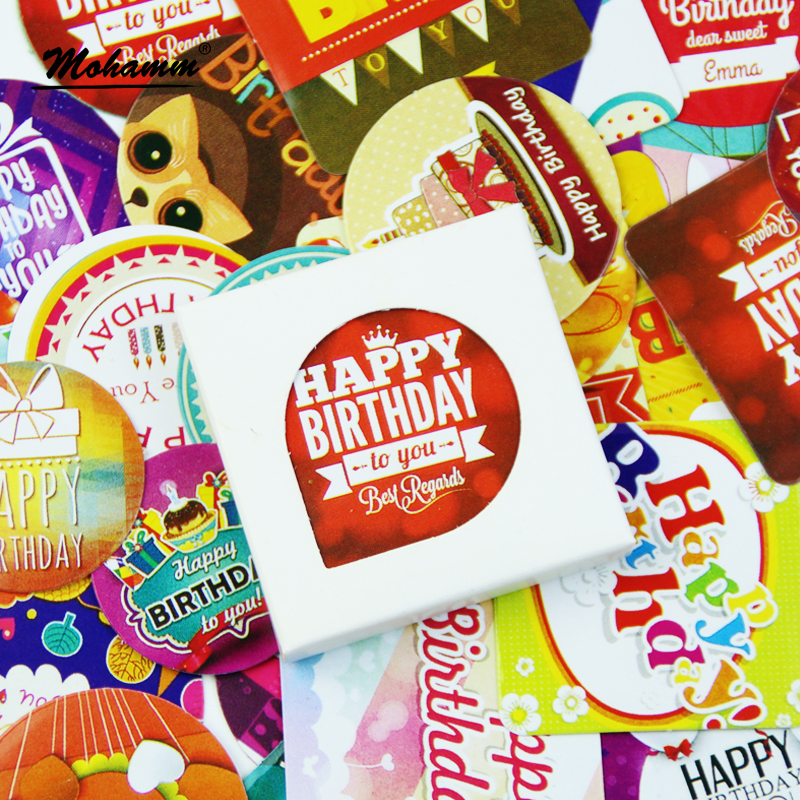 38 Pcs/Pack Happy Birthday Decorative Paper Sticker Diy Gift Scrapbooking Stamp Cute Label Stickers Self Adhesive Stickers