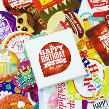 38 Pcs/Pack Happy Birthday Decorative Paper Sticker Diy Gift Scrapbooking Stamp Cute Label Stickers Self Adhesive - discount item  10% OFF Stationery Sticker