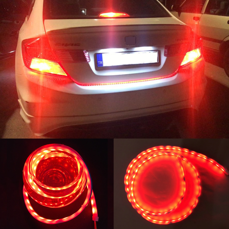 Led Strip Trunk Tail Brake Turn Signal Light Flow Type Ice Blue Red Yellow White Car-Styling Tailgate Driving Daylights blue red white yellow led strip tail streamer brake turn signal warning lighting car styling dynamic streamer drl tail lights