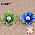 100% 925 Pure Sterling Silver Jewelry Flower & Simulated Pearl Cute Pendants for Necklaces Women Accessories Bijoux SYP12586