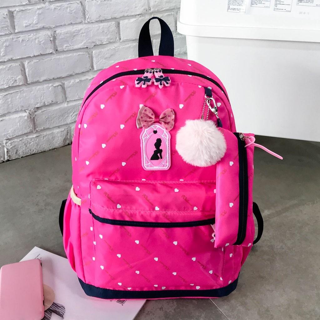 Women Bow Canvas Three-piece School Bag 23