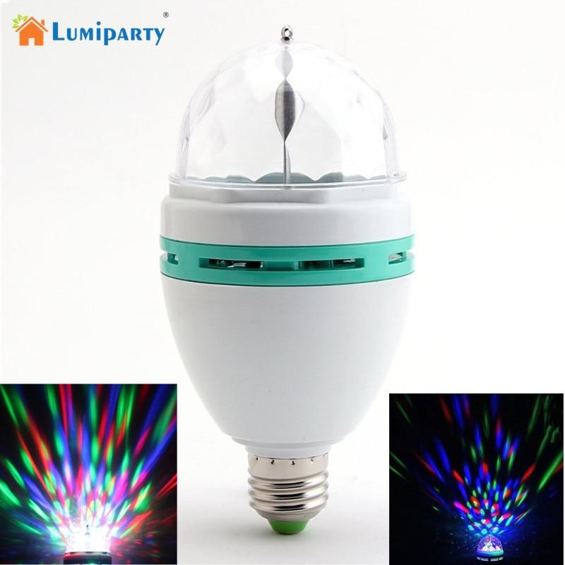 LumiParty 3W E27 RGB LED Lamp Colorful Magic Bulbs AC 85-265V Auto Rotating Stage Light DJ Disco Club Party PUB LED Bulb