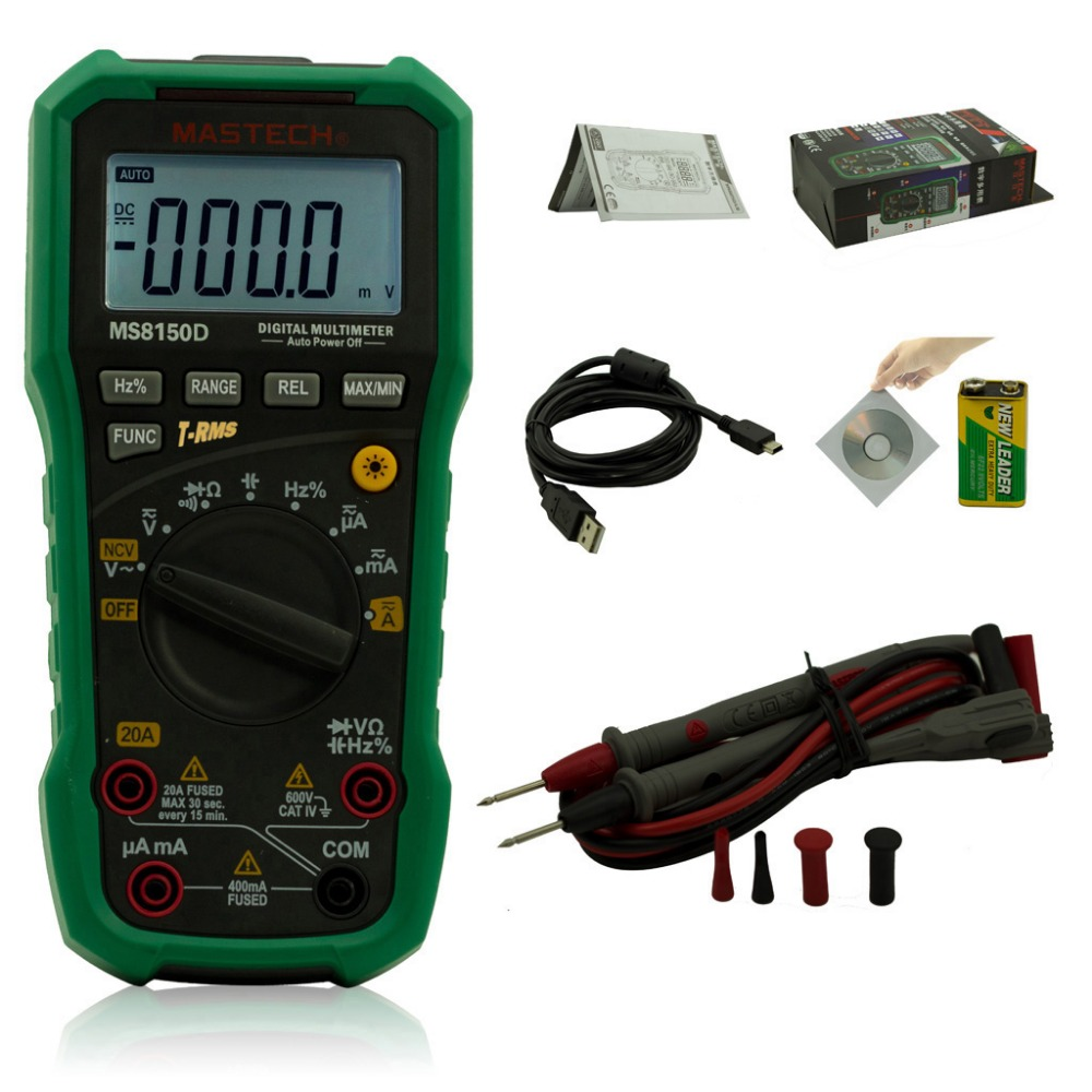 Mastech MS8150D Digital Multimeter Auto Range Ture RMS Handheld Portable Tester Meter Electrical Instrument Diagnostic tool