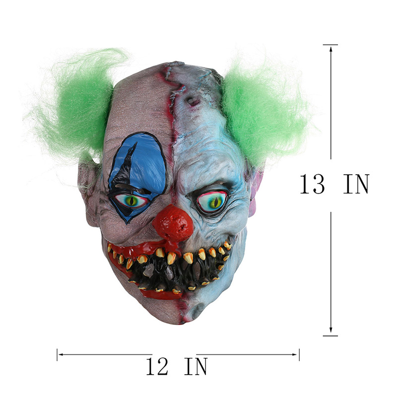 Scary Clown Latex Mask Green Hair Buck teeth Full Face Horror Masquerade Adult Ghost Party Mask Halloween Props Fancy Costumes 4