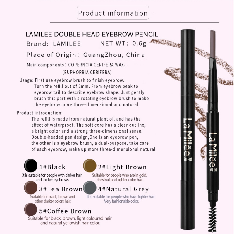2019 1PC Double End Eyebrow Pencil Sweatproof Colorfast Long Lasting Eyebrow Enhancers Eyebrow Outline Pen in Eyebrow Enhancers from Beauty Health