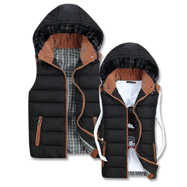 Los amantes del estilo desmontable con capucha engrosamiento chaleco de algodón chaleco mujeres chalecos chalecos de los hombres para el otoño y el invierno envío gratis
