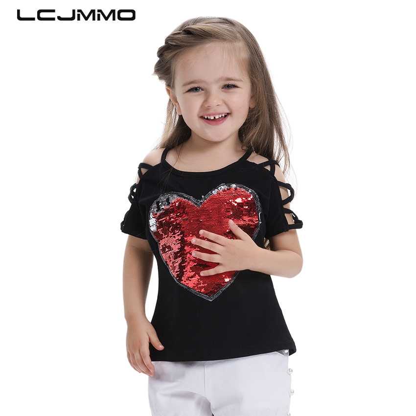 LCJMMO Fashion Cotton Summer Girls T-shirts With Sequins Discoloration Children Clothes Girl Short Sleeves Tshirts Kids Tee Tops kids pineapple print tee with rolled hem shorts