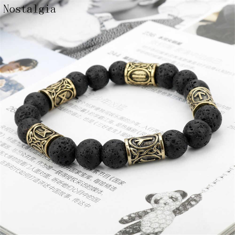 Viking Bracelet Norse Jewelry 10 mm Tiger Eye Bracelet with Rune
