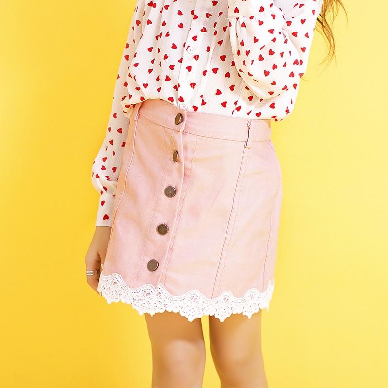 Teen Girl Skirt Lace Stitching Denim Skirts Big Children Summer Princess Skirt Cute Teenager Girls Half Pink Botton Skirt