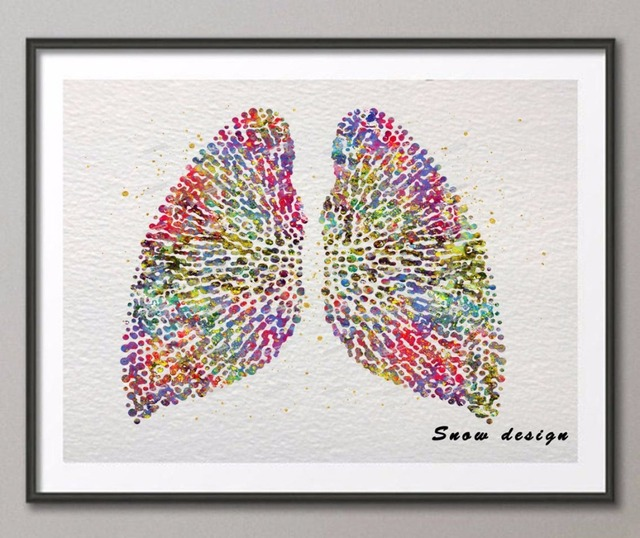 Original Watercolor Human Lungs Poster Print Pictures Canvas