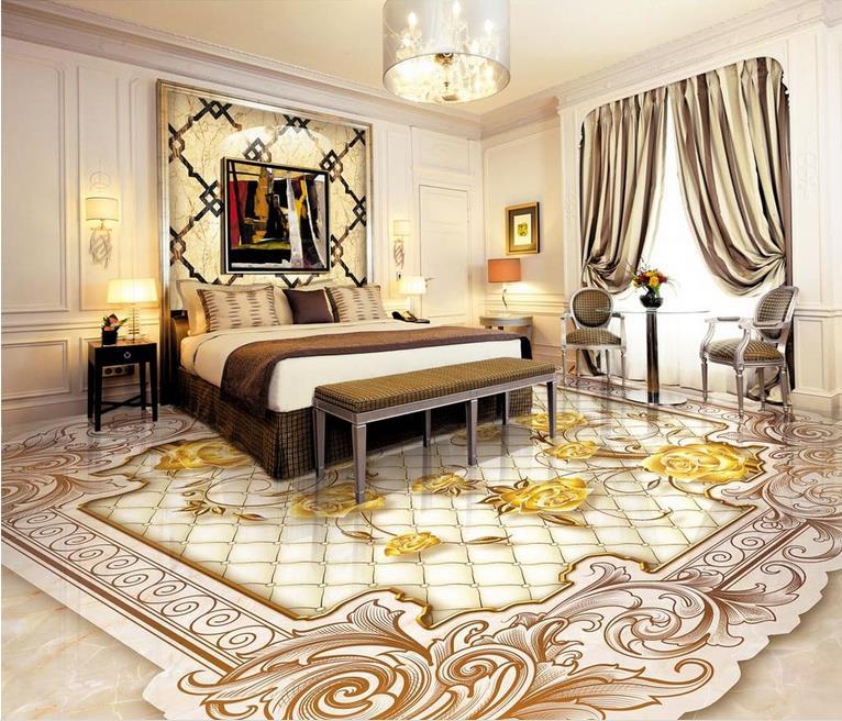 US $26.87 52% OFF|Europäischen luxus 3d bodenbelag 3d stereoskopische  tapete Rosen für badezimmer wohnzimmer 3d boden tapete-in Tapeten aus ...