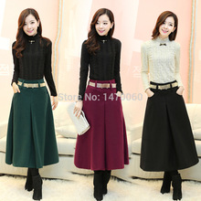Women's Vintage High Waist Woolen Tea Length A-line Skirt