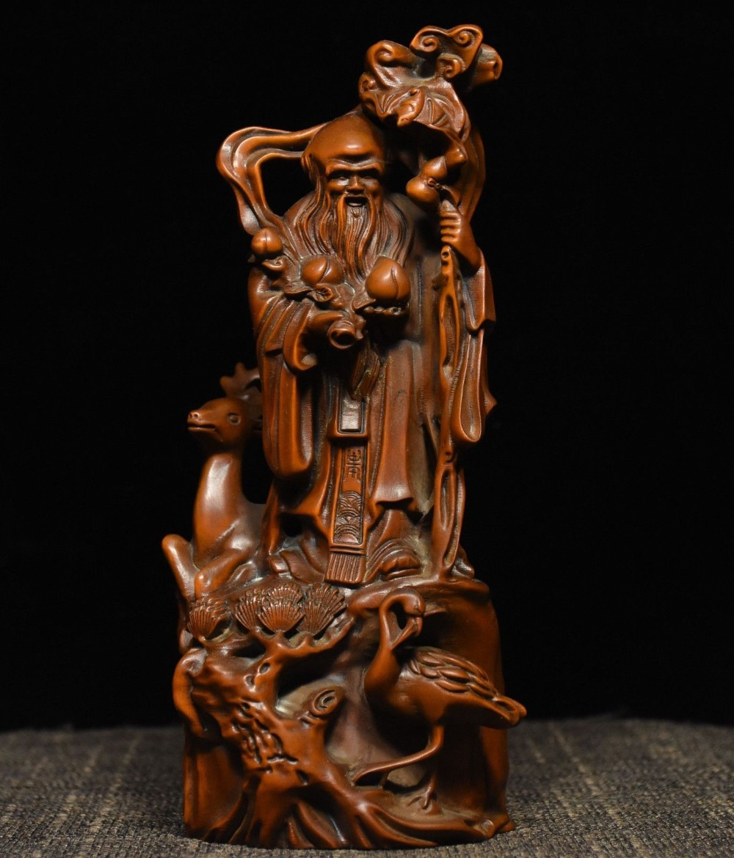 Рождество 7 народный сбор самшита дерева вырезать Бог долголетия олень красный коронованный кран статуя новый год