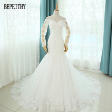 BEPEITHY 2017 Vestido De Novias Long Sleeve Mermaid Lace Wedding Dress Sweep Train Custom Made Cheap Bridal Gowns