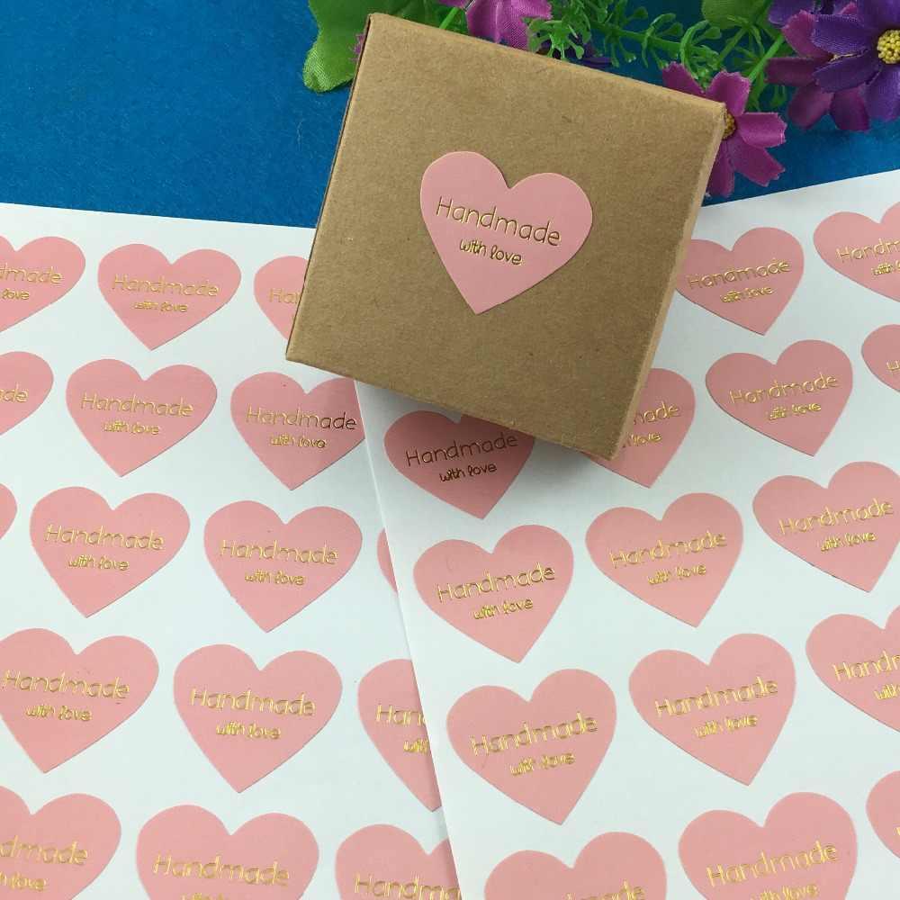 """100 pçs/lote Thermoprinting de Cor Rosa de Ouro """"Feito À Mão com amor"""" heart-shaped design Adesivos de Ouro Etiqueta Etiquetas de texto"""