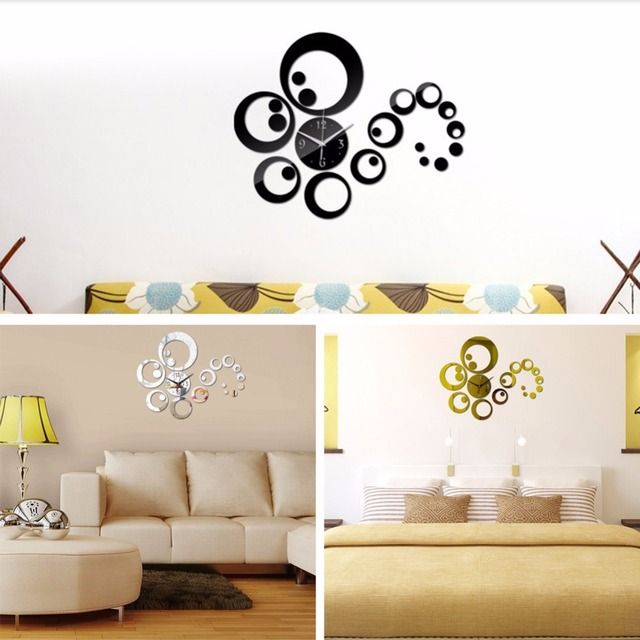 Creative round clock shape design acrylic mirror wall stickers home bedroom office decor removable decals wall