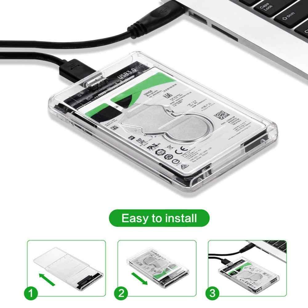 2.5 אינץ USB 3.0 שקוף SATA3 5gbps כונן קשיח מארז Caddy מקרה 128*79*13mm עבור חיצוני HDD/SSD כונן קשיח מקרה