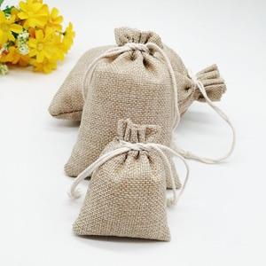 Image 5 - 100 unids/lote 7x9 15x20cm Vintage Natural arpillera Lino yute bolsa de regalo yute bolsa de embalaje de regalo bolsas de regalo con cordón para boda