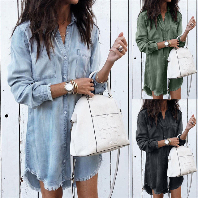 145c57a1 Autumn Women Blouses Long Sleeve Turn-down Collar Long Shirts Dress High  Quality Ladies Denim Blouse Button Tassels Shirts Tops