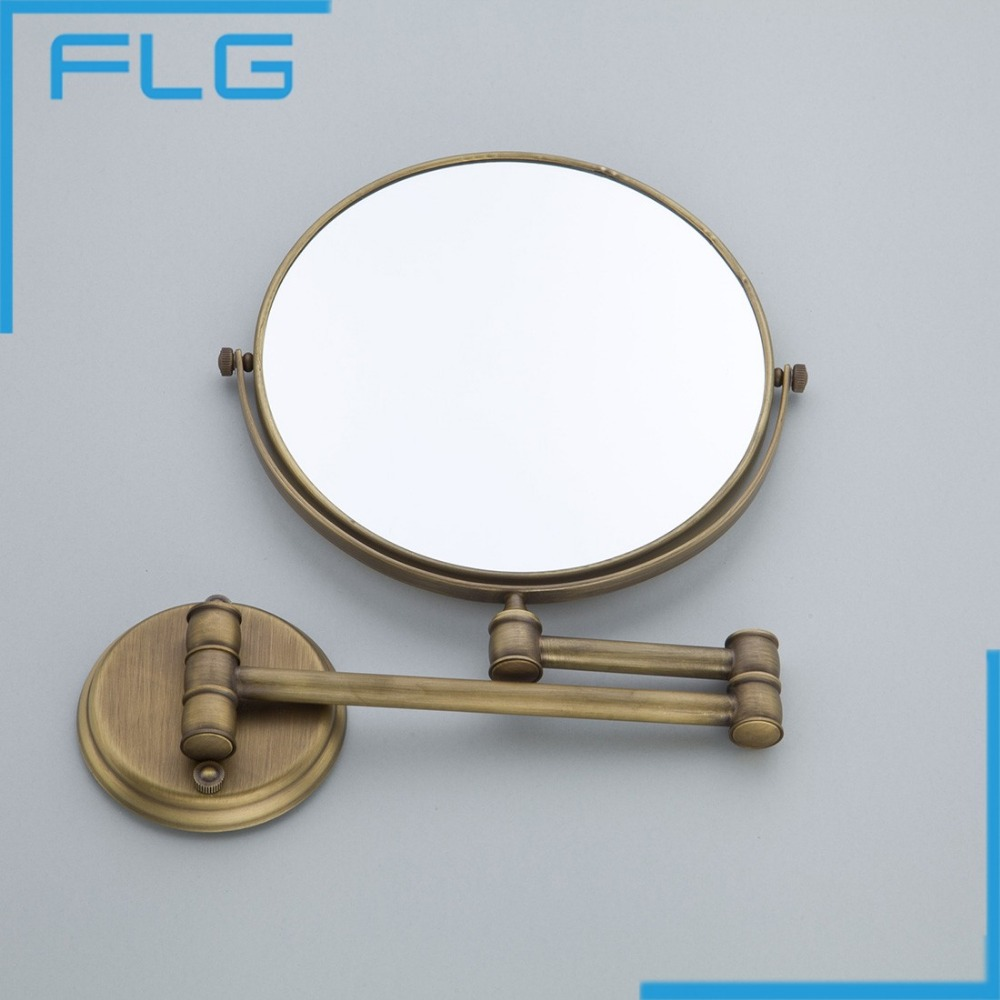 High Quality Fashion Antique Copper Retractable Wall Bathroom Mirror/ 8  Inch 3x Magnifying Wall Mounted Bath Makeup Mirror In Bath Mirrors From  Home ...