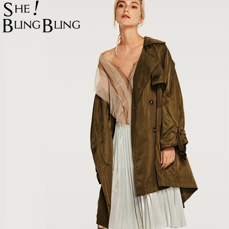SheBlingBling Women's Autumn   Trench   Coat Fashion Casual New Spring Long Outerwear Loose Clothes For Lady With Belt