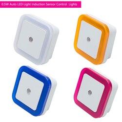 Luz LED de Control automática con Sensor por inducción, luz de noche de dormitorio, lámpara de cama, lámpara LED de noche, luz de noche de dormitorio con enchufe europeo