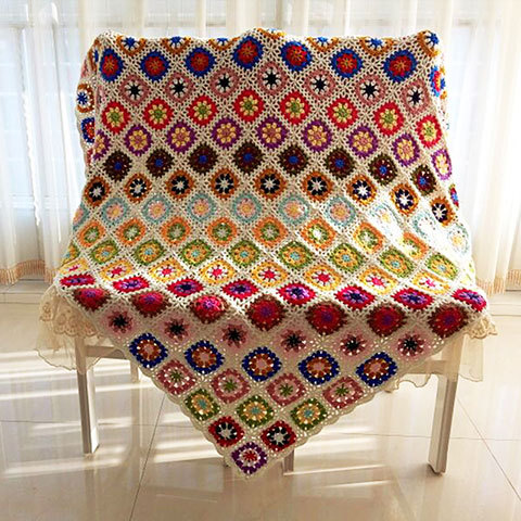 Bohemia Handmade Crochet Blanket 120*120cm Daisy Sofa Weave Blanket Cotton Mat Yoga Mat Table Cloth Free Shipping