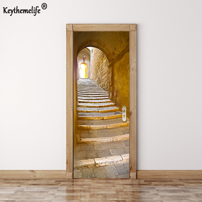 Keythemelife 2 pcs/set Stone Steps Wall Stickers DIY Mural Bedroom Home Decor Poster PVC Waterproof Door Stickers 3D Decal EA