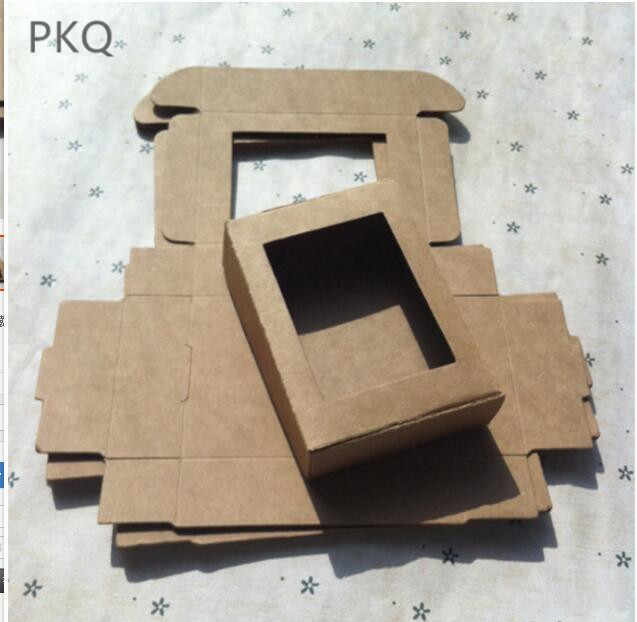 50pcs/lot Cardboard Kraft Paper Box with window Gift Box Wedding Favors Candy Box jewelry Carton Caixa Presents Soap Packing box