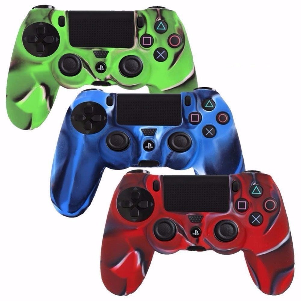 Gen Game Anti-slip Silicone Rubber Cover Skin Case for Sony PlaySation Dualshock 4 PS4 Pro Slim Controller with 2 Grip